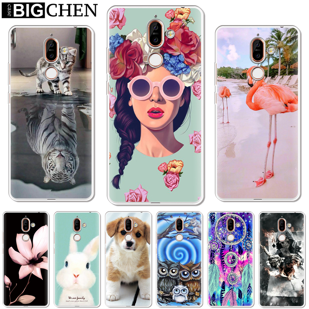 Soft <font><b>Silicone</b></font> TPU Phone Case <font><b>Cover</b></font> For <font><b>Nokia</b></font> 1 3 5 8 6 2 7 <font><b>Plus</b></font> 9 X6 2.1 3.1 5.1 <font><b>6.1</b></font> 2018 <font><b>Back</b></font> Cases Coque Capa Shell Cute image