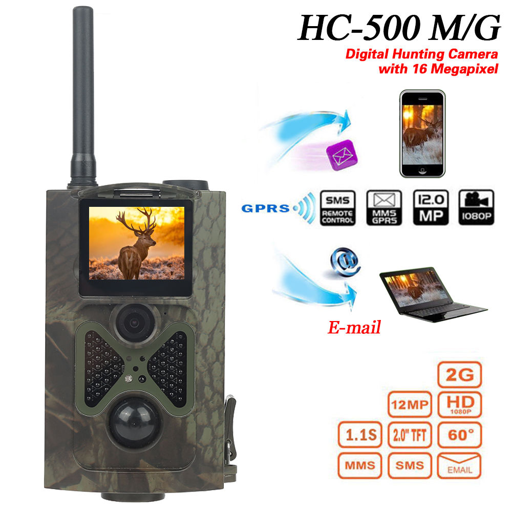 HC 500M Deer Cameras 12MP GSM MMS GPRS SMS Control Hunting Camera HC500M with 48 units Infrared LEDs Motion detection HC-500M sim900a development board gsm gprs stm32 module sms wireless data dtmf mms