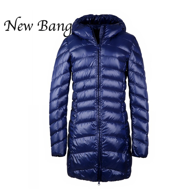 Womens Long Winter Jackets And Coats Hooded  Ultra Light Duck Down Jacket Berief Parkas Seven Color XXXL With Carry Bag