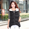 2015 new women's autumn and winter fashion down cotton vest big yards female Slim casual hooded jacket L-3XL Y1021-65D