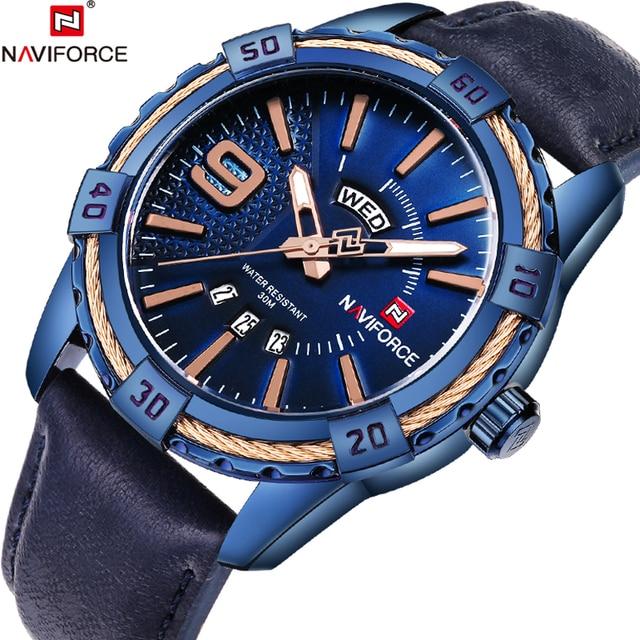 Novo naviforce esporte relógio de quartzo à prova dwaterproof água dos homens relógios marca superior luxo couro genuíno data semana relógio relogio masculino