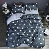 Home textile grey star bedding set geometric printed king full duvet cover bed sheet set bed linen AB side flowe bedclothes home