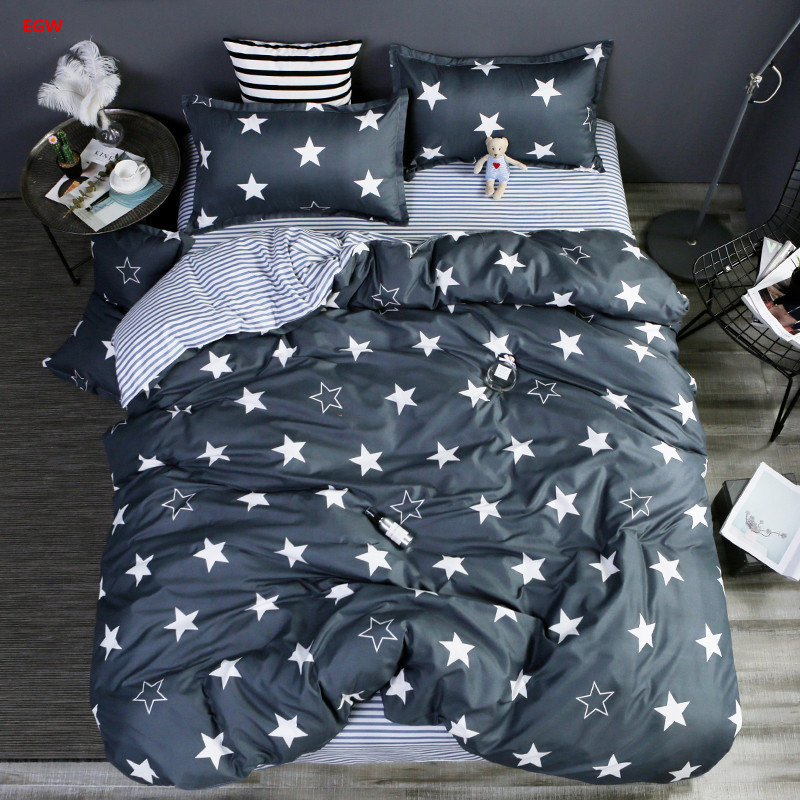 Home textile star bedding set net geometric printed king full duvet cover bed sheet bed linen AB side flower bedding five size