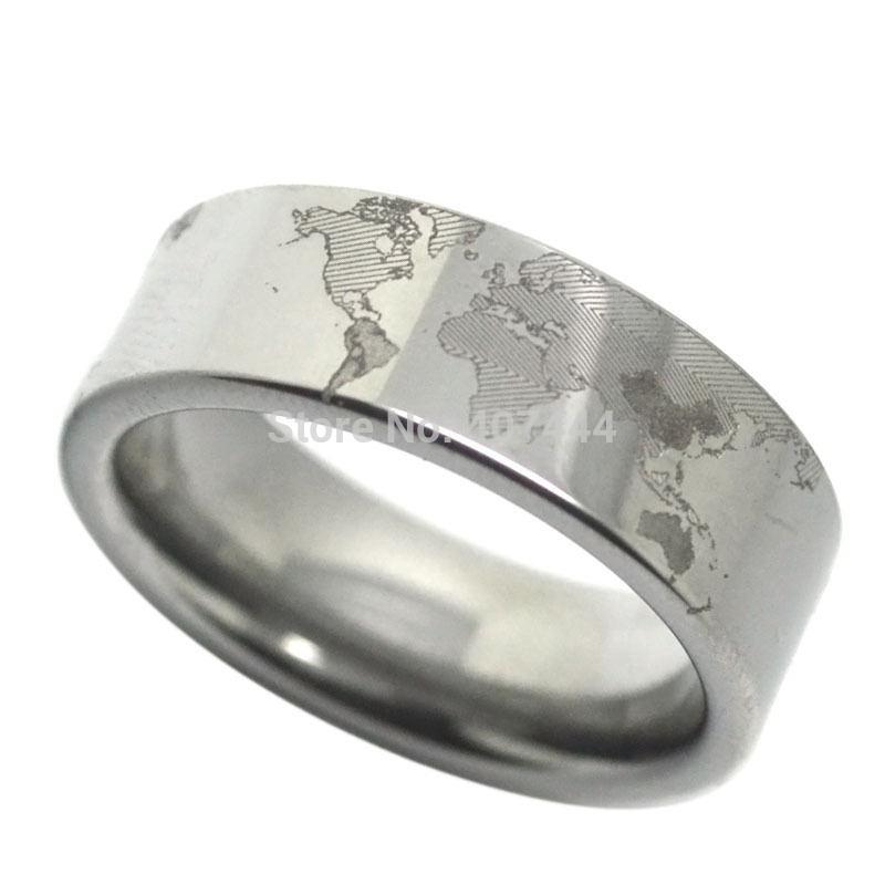 Perfect YGK JEWELRY Silver Pipe Ring Unique World Map Design Ring New Fashion Menu0027s  Tungsten Ring Wedding Band For Women Free Engraving In Wedding Bands From  ...