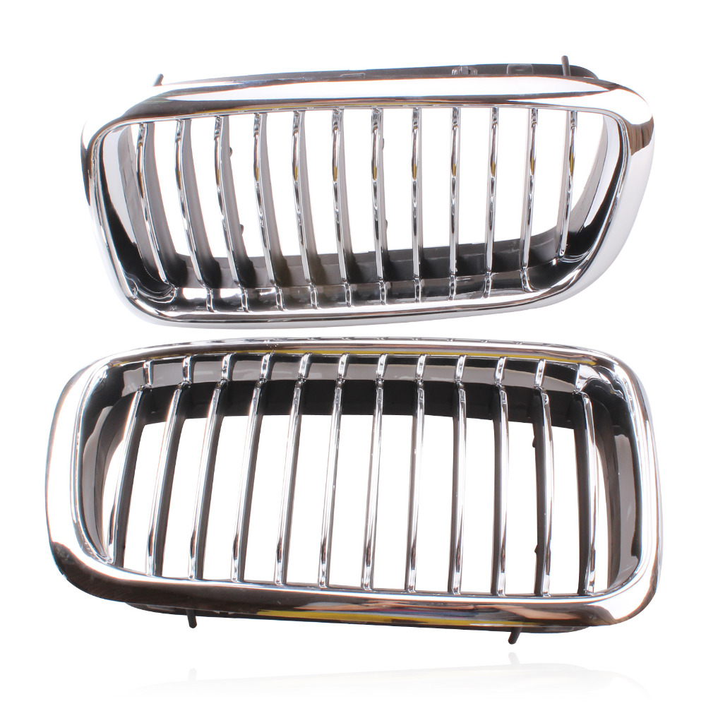 2 pcs Silver Left & Right Grille <font><b>Grill</b></font> Chrome Frame Fin Bar Grid For <font><b>BMW</b></font> 7-Series <font><b>E38</b></font> 728 730 735 740 1999-2001 ABS Plastic image