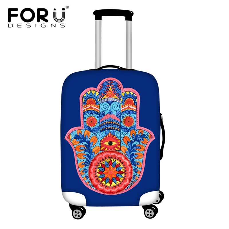 FORUDESIGNS Hamsa Hand Watercolor Pattern Travel Suitcase Covers Elastic Thicken Luggage Protective Cover Apply To Trunk Cases