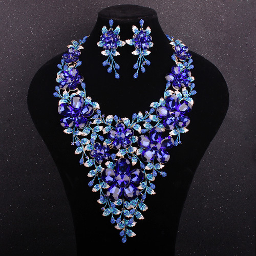 New Luxury Bridal Jewelry Sets Gold Plated Blue Crystal Sapphire