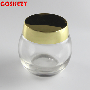 Ball shape clear or pink galss jar with gold cap, 120ml large size for skin care cream in stock