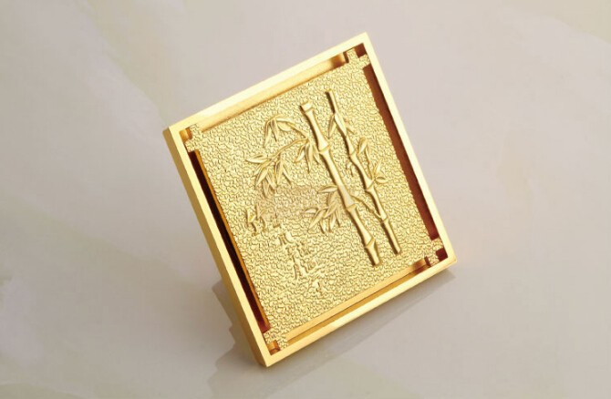 free shipping Europe style high quality brass art carved bamboo gold square 10*10cm size deodorization floor drain waste drain free shipping europe style high quality brass art carved flower gold square 4 size deodorization floor drain waste drain