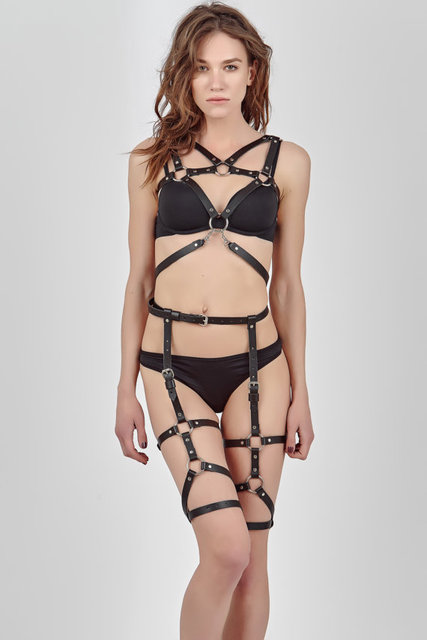 Black leather harness lingerie - top and stockings made of straps, handmade, bdsm costume, erotic