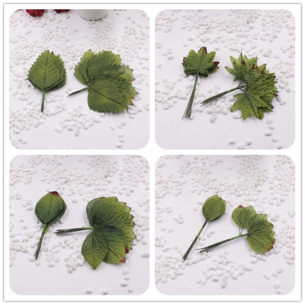12pieces/1lot Artificial Leaf flower Silk Green Leaves for party wedding decoration Scrapbooking Craft Fake Flower