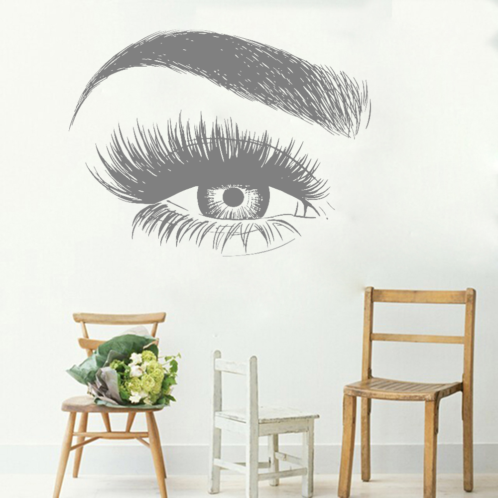 New design eye eyelashes wall decal sticker lashes - Stickers salon design ...
