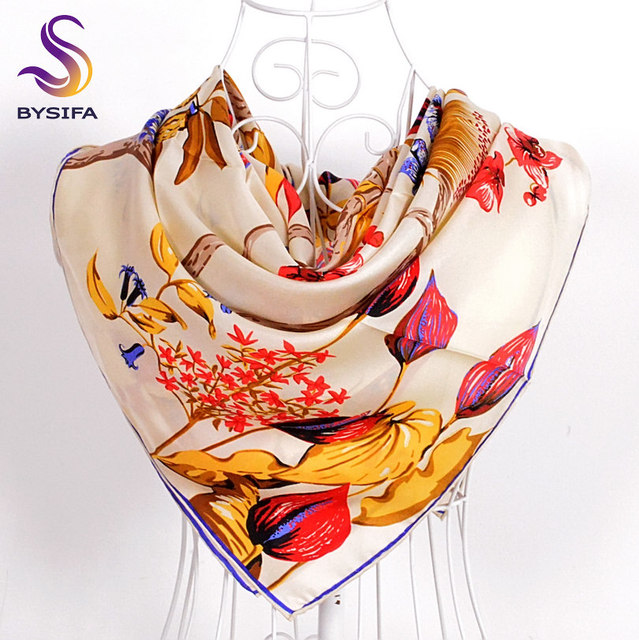 Tree Flowers Beige Twill Square Scarves Wraps 2016 Fashion Accessories Winter Men Women Silk Scarf Shawl For Spring Fall 90*90cm