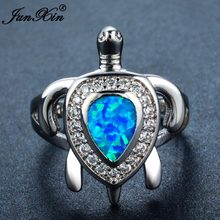 JUNXIN 90 OFF! Blue/White Fire Opal แหวน(China)