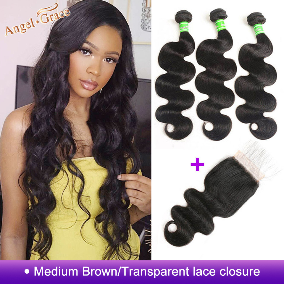 Body Wave Bundles With Closure Remy Human Hair 3 Bundles With Closure Brazilian Hair Weave Bundles