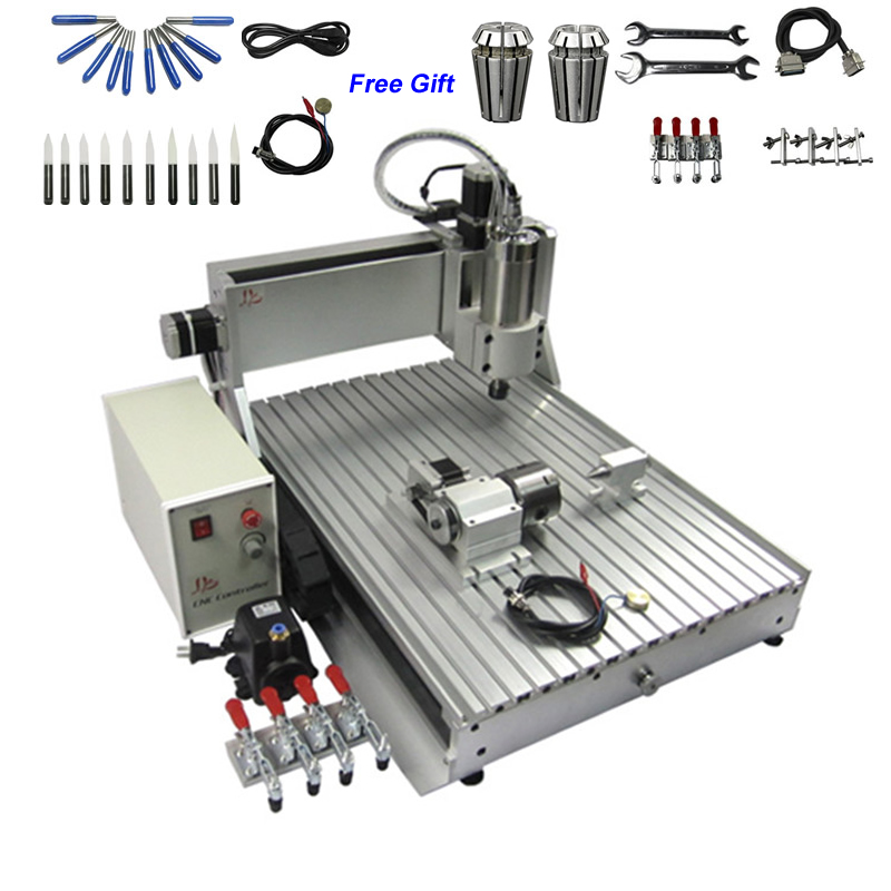 Limit Switch 4 Axis CNC Router 6040 1.5KW 3D Engraving Woodworking Machine for Hard Metal Cutting
