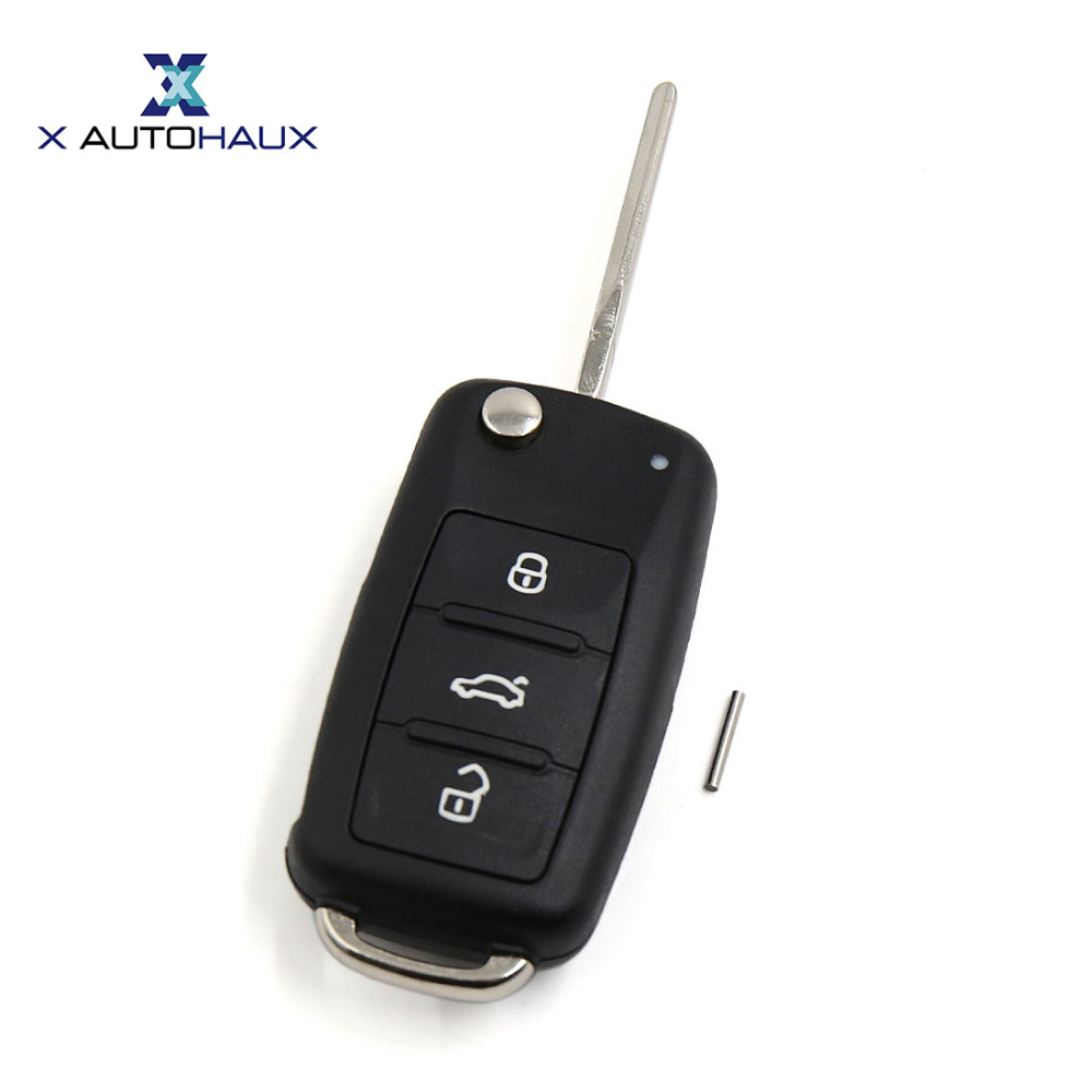X AUTOHAUX Replacement Flip Folding Remote Uncut Ignition Key Case Fob S06027 for VW Beetle Caddy Jetta Passat CC Routan Sharan