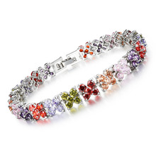 Woman Chain & Link Bracelets Fashion White/Multicolor Cubic Zirconia Butterfly Design Women Wedding Jewelry DS954