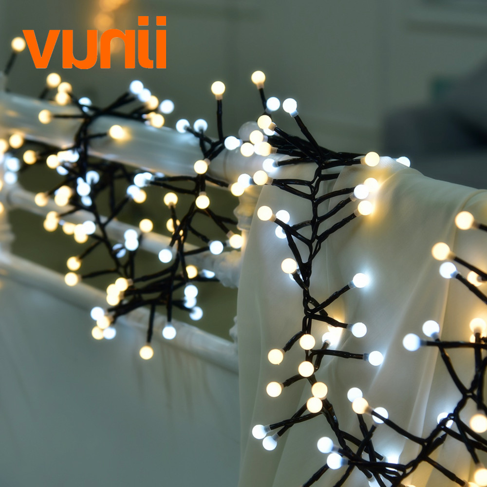 New! 400 Milky Balls Led Christmas String Light With 5M Extension Line IP44 Plug 8 modes for Wedding,Holiday,Party,Home decor high quantiy 28 ball led 5m string light for christmas xmas holiday wedding party decoration fashion holiday light 8 mode work