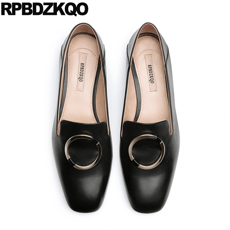 Comfortable Flats Square Toe Shallow Slip On Embellished Chinese Ladies Metal Beautiful Spring Autumn Comfy Shoes Size 35 Korean comfy fitness ladies beautiful flats shoes spring autumn women size 34 korean china black slip on sneakers casual footwear