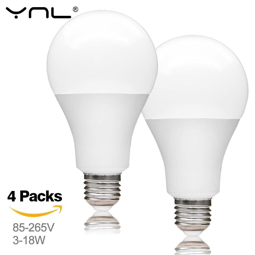 4Pcs Lampada LED Lamp E27 AC 220V Bombillas LED Bulb 3W 6W 9W 12W 15W 18W Spotlight Light Bulb Cold Warm White High Power Home