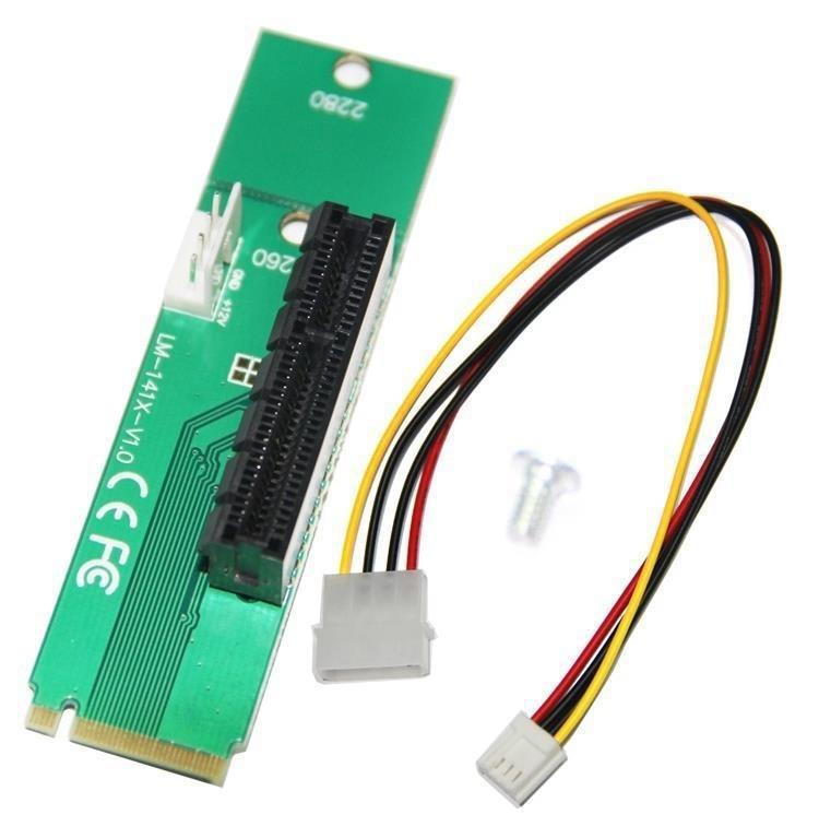 Didelės spartos PCI-e 1X / 4x kortelė su NGFF M.2 M raktų PCIe lizdo adapteriu