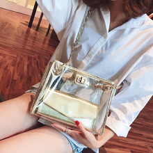 ETAILL Summer Transparent Handbag for Women 2019 Large Capacity Beach Tote Bag PVC Clear Silver Golden Chain Composie Bags