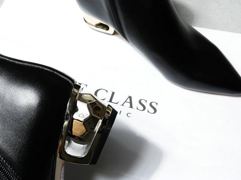 Elegante Salu Botines Dedo Clásico Pie Grueso Moda Cuero Botas En Mujeres Las Genuino Punta Beige Zapatos Del De negro Señoras Talón ZqAC5Zw