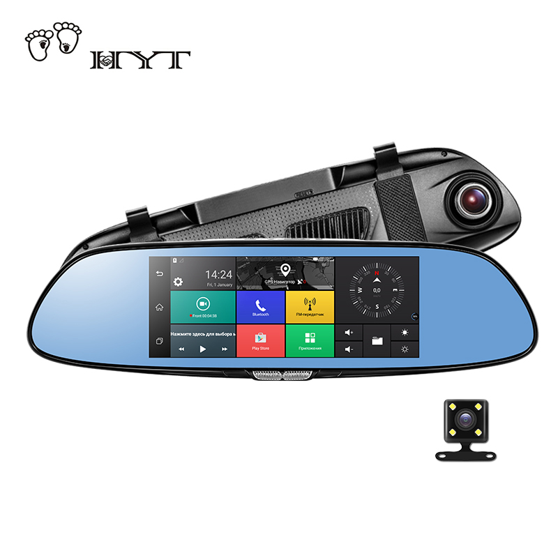 HYT H760 7 3G Rearview Mirror DVR and Camera Dual Lens Android 5.0 1080P Video Recorder GPS Navigation Car detector Dash Cam relaxgo 5android rearview mirror car camera gps navigation wifi car video recorder dual lens 1080p vehicle dvr parking dash cam