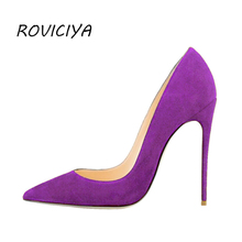 Purple Extreme High Heels Pointed Toe Sexy Women Shoes 8 cm 10 12 Shallow Valentine RM004 ROVICIYA