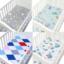 Матрас для детской кровати, мягкий защитный чехол с мультяшным принтом для новорожденных, детское постельное белье для кроватки, хлопок, простыня для кроватки, размер 130*70 см