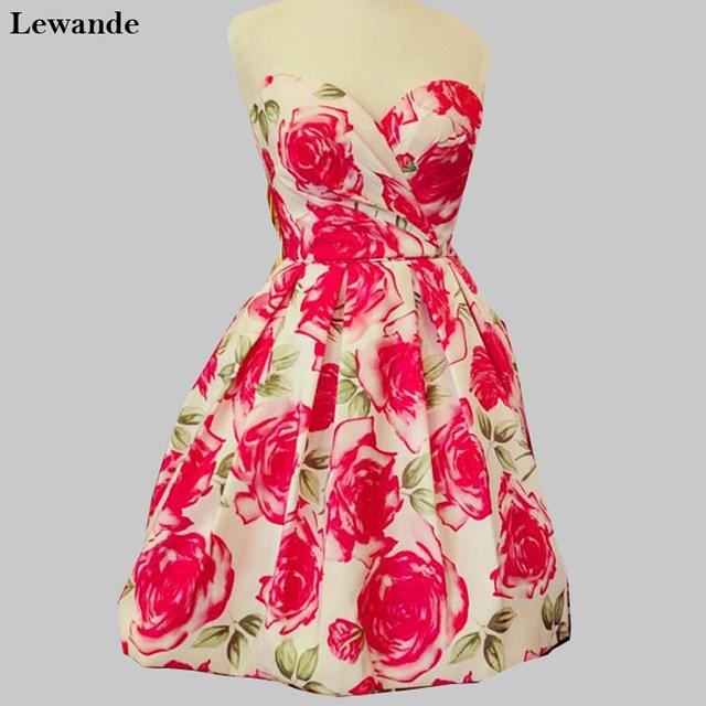 0db5cd09854 Lewande Bridesmaid Dresses 50329 A Line Pink Princess Floral Print  Homecoming Dress Short Sweetheart Cute Cocktail Party Skirt