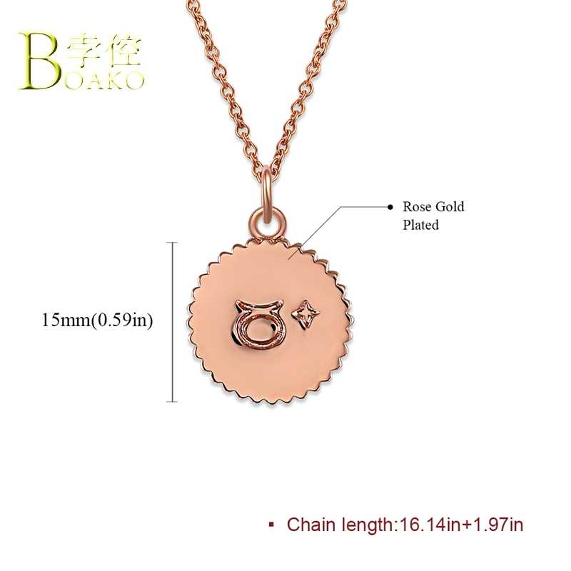 BOAKO Zodiac necklace women men statement 12 constellations sign Horoscope pendants necklace girl birthday party jewelry B5