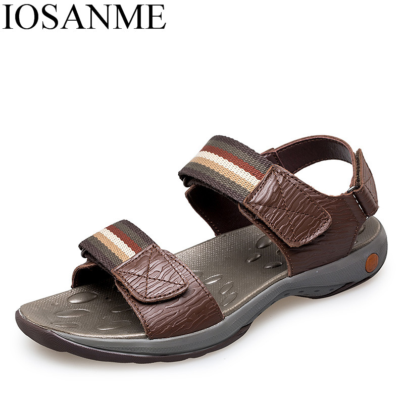 spring summer men shoes luxury brand sandals 2018 genuine leather beach casual footwear male italian formal mesh footwear shoes