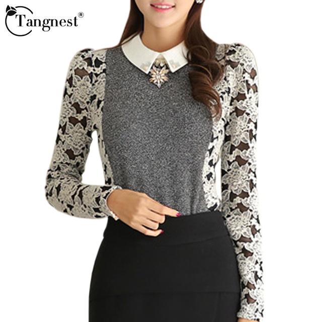 TANGNEST Women Shirt Lace Sleeve Patchwork 2016 Spring Autumn Peter Pan Collar Sexy Formal Office Business Blouse WCL925