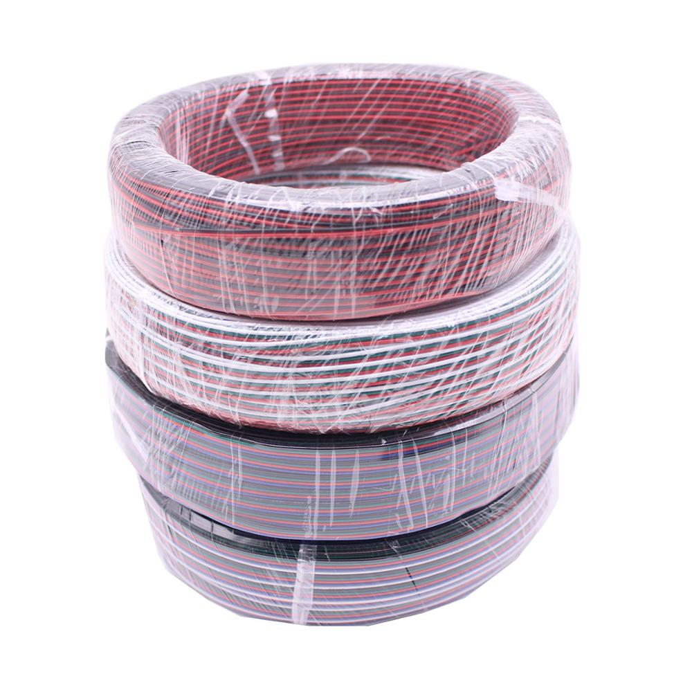 <font><b>2Pin</b></font> 3Pin 4Pin 5Pin 1M 5M 10M 18AWG <font><b>20AWG</b></font> 22AWG Electric Extension Wire Cable For Single Color RGB RGBW LED Strip Connecting image