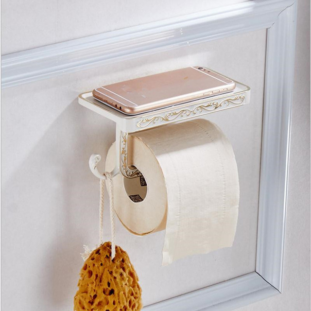 Patterned Retro Bathroom Towel Holder and Hook