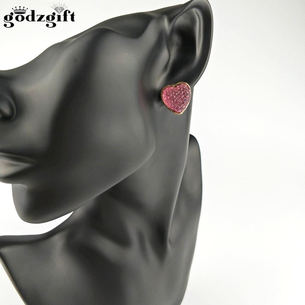 Godzgift Crystal & Auden Rhinestone Modern Earrings Romantic Love Heart Design Alloy Plated For Sale Elegant Gift Fashion JE0036