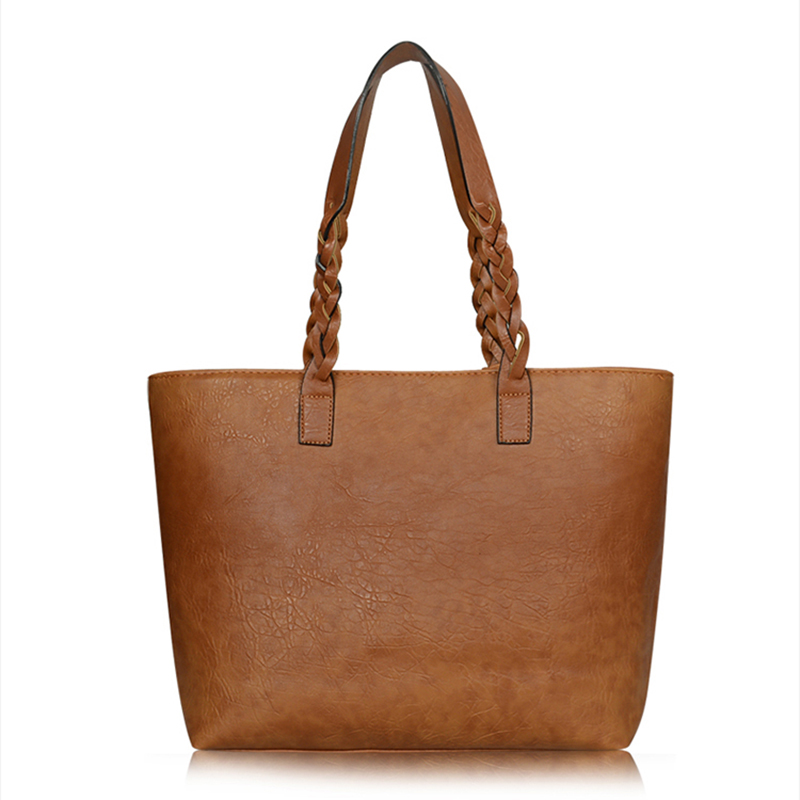 ce94efa0136 Women PU Leather Handbags Bolsos Mujer De Marca Famosa Female Vintage Bag  For Women Shoulder Bag Retro Large Capacity Tote Bags-in Shoulder Bags from  ...