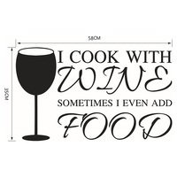 22 8 X13 7 I Cook With Wine Kitchen Art Quote Removable Vinyl Wall Stickers Decal