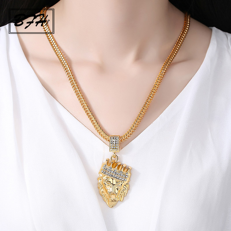 BFH Fashion Luxury Rhinestone Crown Lion Head Necklace Pendants for Women Men Girl Party Glamour Hip Hop Golden Necklace Jewelry graceful rhinestone necklace for women