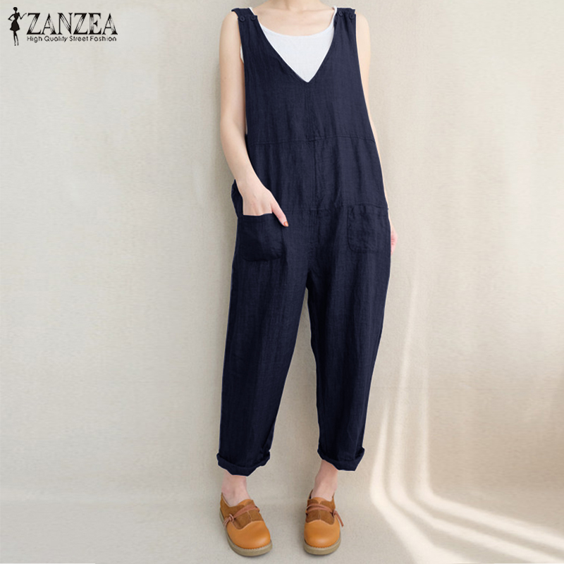 2018 ZANZEA Women Casual Summer V Neck Sleeveless Solid Rompers Retro Pockets Work OL Jumpsuits Loose Party Overalls Plus Size