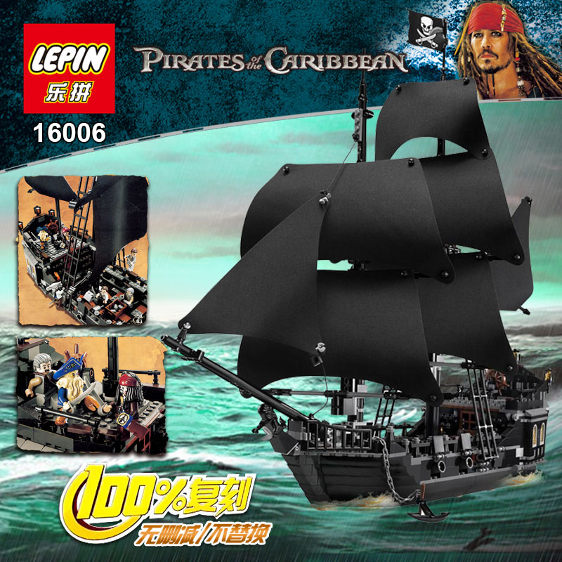 804Pcs font b LEPIN b font 16006 Pirates Of The Caribbean The Black Pearl Ship Model