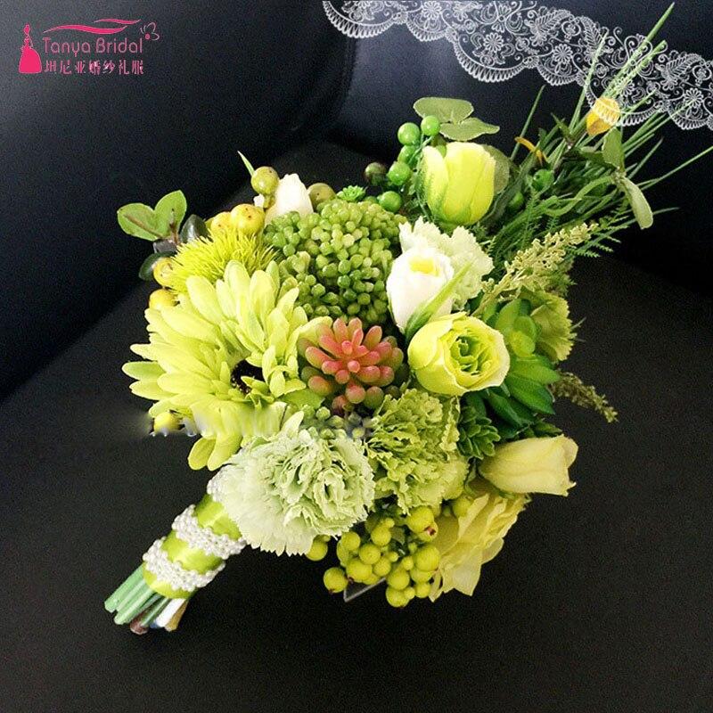 High Quality Green Flower Bouquets Modern Simple Wedding Bridal ...
