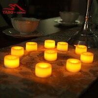 Sarı Parlak Akülü Çay Işıkları Romantik Kokusuz Sahte Adak Tealight Mum Gerçek Wax Klasik Fildişi Kokusuz