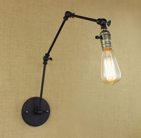 Loft Style Swing Arm Band Switch Wall Sconces Bedside Wall Lamp Edison Vintage Wall Light Fixtures For Home Lighting Lamps & Shades