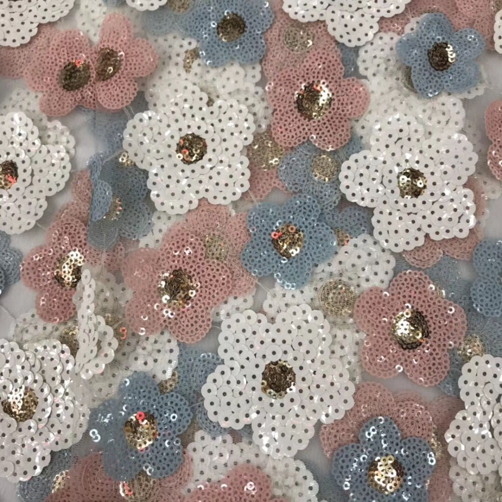 African 3D Sequins Lace Fabric 2019 High Quality Lace French Sequence Tulle Lace Nigerian Lace Fabrics For Wedding YYZ005261-in Lace from Home & Garden    3