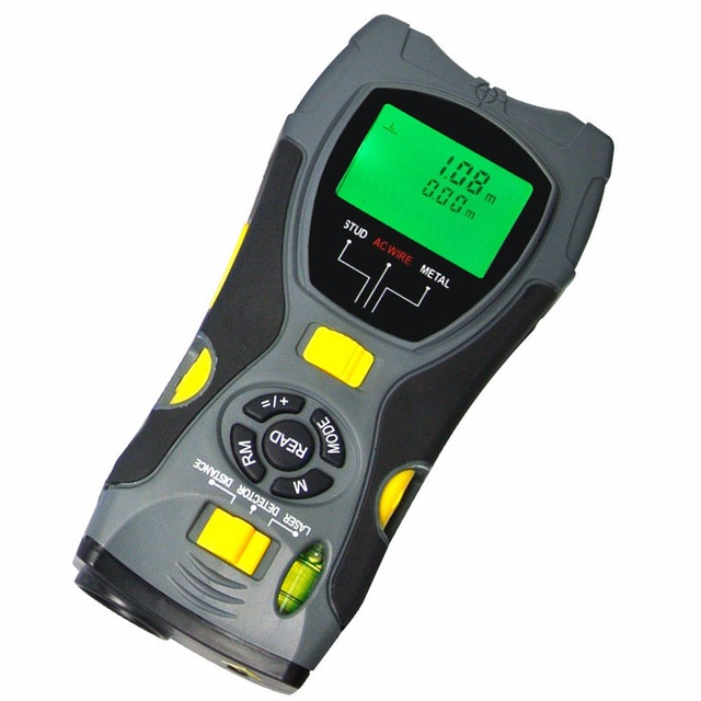 Portable Multifunction 5in1 Digital Distance Meter Stud/Joists Metal Wire Detector Laser Marker Tool 0.6~16m (2 ~ 53 feet) Range