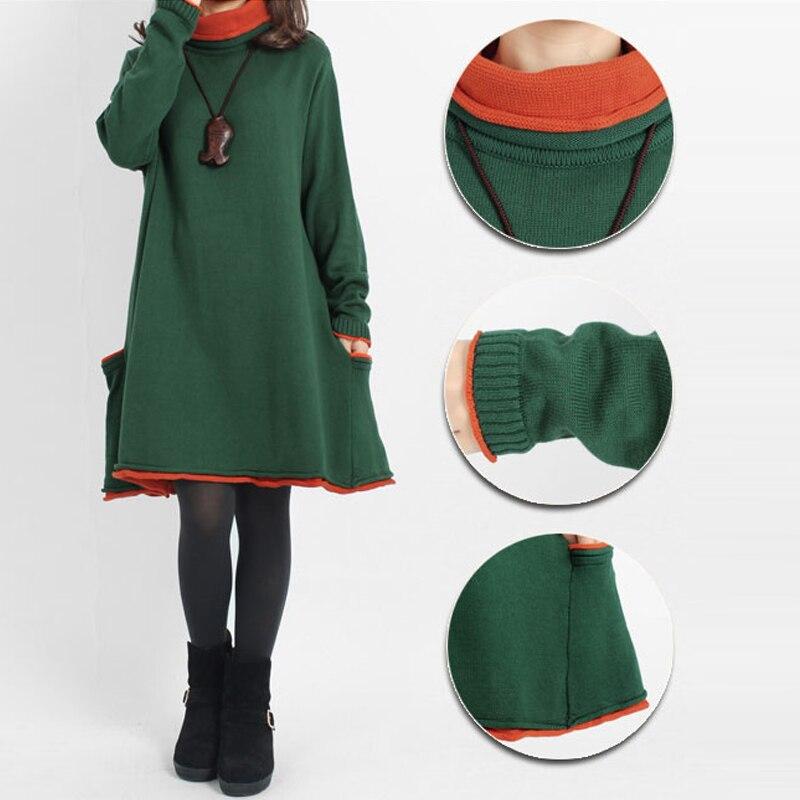 Long Sleeved Turtleneck Long Oversize Sweater Dress Autumn Fall Maternity Dress Stylish Knitwear Jumper Dress Plus