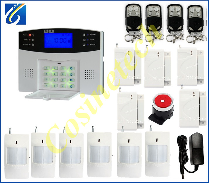 Shenzhen Classic LCD display GSM850/900/1800/1900Mhz home security alarm sysem+5 door sensor+6 PIR sensor gsm alarm system free shipping lcd dispaly home wireless gsm alarm system 850 900 1800 1900mhz